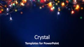 Amazing PPT theme having colorful christmas lights background backdrop and a navy blue colored foreground