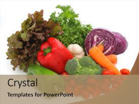 Cool new slide deck with colorful fresh group of vegetables backdrop and a coral colored foreground.