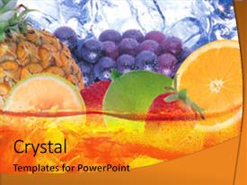 PPT theme having colorful fruits for fresh juice background and a gold colored foreground.