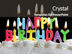 Beautiful PPT theme featuring colorful happy birthday candles burning backdrop and a dark gray colored foreground.