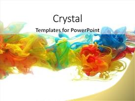 PPT layouts with colorful ink in water abstract background and a white colored foreground