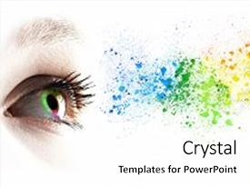 Colorful presentation theme enhanced with colorful rainbow female eye and colored splashing over white backdrop and a cream colored foreground.