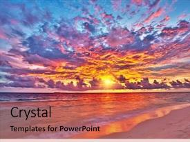 Cool new PPT theme with colorful sunset over ocean backdrop and a red colored foreground
