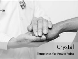 Presentation design enhanced with comfort black and white doctor background and a light gray colored foreground.