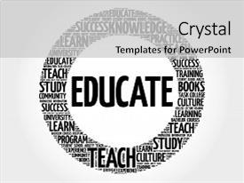 Presentation design consisting of educate word cloud collage education background and a light gray colored foreground