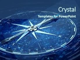 Presentation theme featuring compass direction on digital code background and a ocean colored foreground.