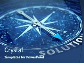 Colorful presentation theme enhanced with compass needle pointing solution word backdrop and a ocean colored foreground.