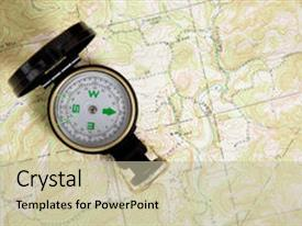 Presentation theme having compass on a topographical map background background and a mint green colored foreground