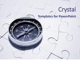 Presentation having compass on puzzle background and a sky blue colored foreground