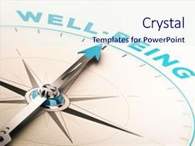 PPT theme consisting of compass with needle pointing background and a sky blue colored foreground.