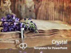 Cool new PPT theme with composition with old retro books backdrop and a violet colored foreground