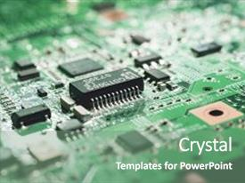 Presentation theme having computer circuit board high technology close up of computer electronic circuit board computer part background and a seafoam green colored foreground.