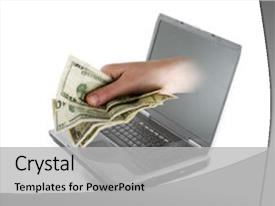 PPT theme featuring computer screen with american cash background and a light gray colored foreground.