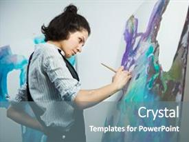Drawing art therapy powerpoint templates crystalgraphics ppt theme having concentrated girl focused on creative art making process in art therapy concept toneelgroepblik Image collections