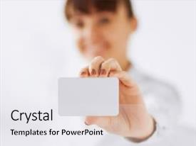Amazing slide deck having concept - businesswoman showing blank card backdrop and a white colored foreground