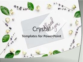 Presentation theme featuring concept calligraphy and floral pattern background and a white colored foreground