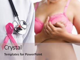 PPT theme having concept for breast cancer background and a coral colored foreground.