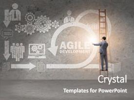 Audience pleasing presentation theme consisting of concept of agile software development backdrop and a gray colored foreground.