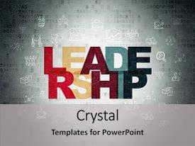 PPT theme consisting of concept painted multicolor text leadership background and a light gray colored foreground.