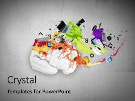 Slides enhanced with conceptual image of human brain in colorful splashes background and a light gray colored foreground