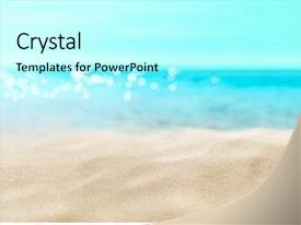 Presentation design featuring shells on sandy beach background and a light gray colored foreground