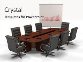 Audience pleasing slides consisting of conference table with graph isolated backdrop and a white colored foreground.