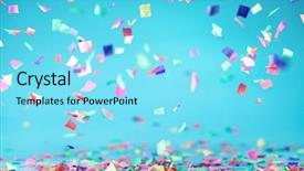 Presentation theme enhanced with confetti flying on blue background background and a arctic colored foreground