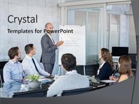 Theme having confident mature businessman giving a presentation to his team in office business brief with annual goals with employees leadership man training businessmen and businesswomen in conference room background and a light gray colored foreground.