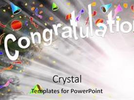 Amazing Slide Deck Having Congratulations Greeting Beam Background Backdrop And A Light Gray Colored Foreground