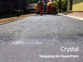 Cool new PPT layouts with team building - constructing asphalt road construction backdrop and a gray colored foreground.