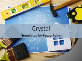 Colorful PPT layouts enhanced with construction instruments plan and brushes backdrop and a light blue colored foreground.