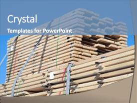 Colorful PPT theme enhanced with construction lumber wood plank stack backdrop and a  colored foreground.