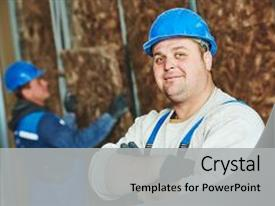 Presentation with construction millwrights - cheerful plasterer worker at a background and a  colored foreground.
