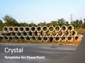 PPT theme consisting of construction pipes for new construction background and a gray colored foreground