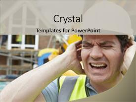 Cool new PPT theme with construction suffering from noise pollution backdrop and a light gray colored foreground.