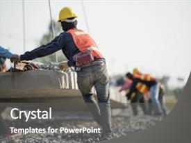 Beautiful PPT layouts featuring safety - construction worker in construction site backdrop and a gray colored foreground.