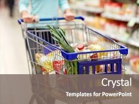 Audience pleasing presentation theme consisting of trolley - consumerism and people concept  backdrop and a gray colored foreground.