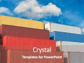 Beautiful presentation theme featuring container handling and storage in shipyard business transportation logistics and management backdrop and a coral colored foreground.