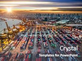 5000 international trade powerpoint templates w international audience pleasing presentation theme consisting of container ship in import export backdrop and a dark gray toneelgroepblik Image collections