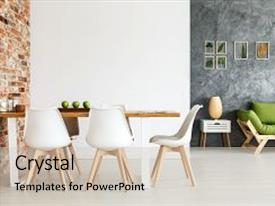 Colorful slide deck enhanced with contemporary interior design of dining space with communal table against brick wall and open living room with simple sofa and plant decorations on textured gray wall backdrop and a soft green colored foreground.