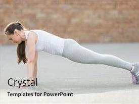 Beautiful PPT theme featuring core activity - sporty attractive young woman practicing backdrop and a light gray colored foreground.
