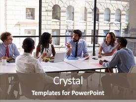 Presentation with corporate business team and manager background and a gray colored foreground