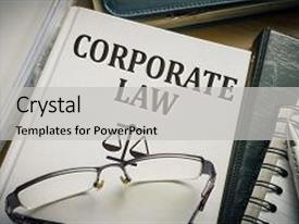 PPT theme featuring corporate law book justice background and a light gray colored foreground.