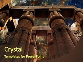 Beautiful slide deck featuring cosmology - photo-montage of columns backdrop and a tawny brown colored foreground.