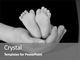 Beautiful slide deck featuring cradled in parent s hand backdrop and a gray colored foreground.