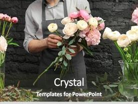 Cool new presentation theme with creating beautiful bouquet in flower backdrop and a dark gray colored foreground