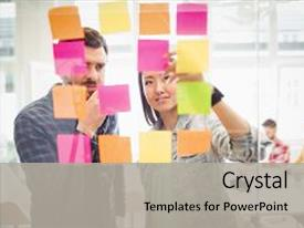 Colorful presentation design enhanced with meeting - creative business people looking backdrop and a light gray colored foreground.