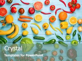 Theme featuring creative composition made of fruits and vegetables in rainbow colors on wooden background flat lay background and a gray colored foreground.