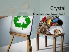 PPT layouts with creative environmentalist painting a recycle background and a light gray colored foreground.
