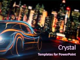Amazing presentation theme having creative glowing digital car on blurry night city background transport and vehicle concept 3d rendering backdrop and a wine colored foreground.